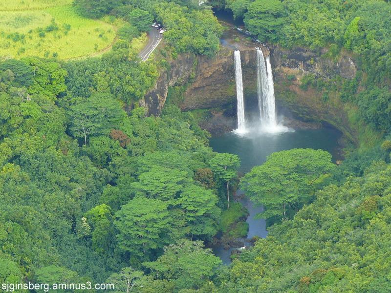 aerial view of Wailua Falls Kauai, Hawaii