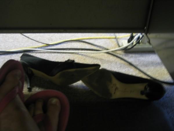 secret shoes under the desk