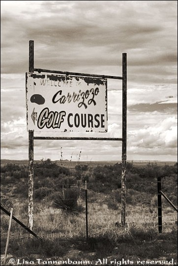 Carrizozo Golf Course sign,