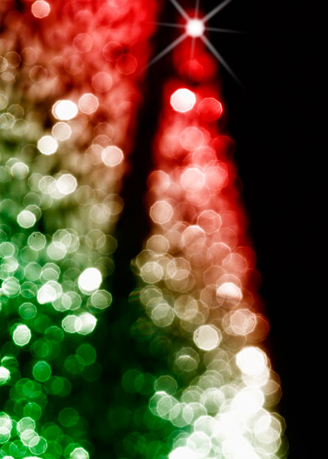 christmas tree made out of bokeh