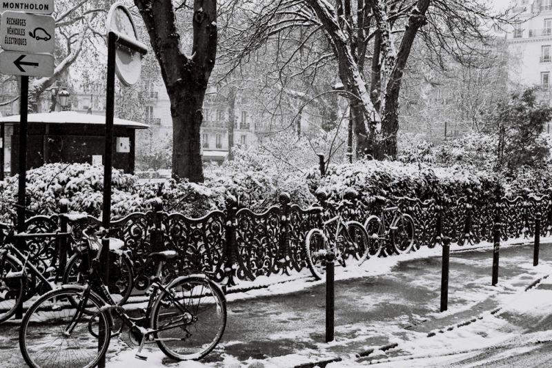 Les vélos sous la neige Paris