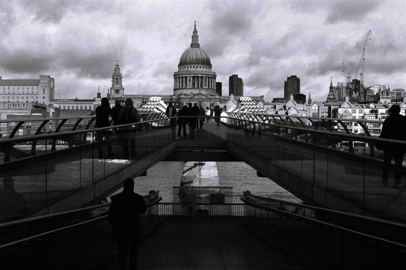 millenium bridge  and St Paul  Cathedral -  London