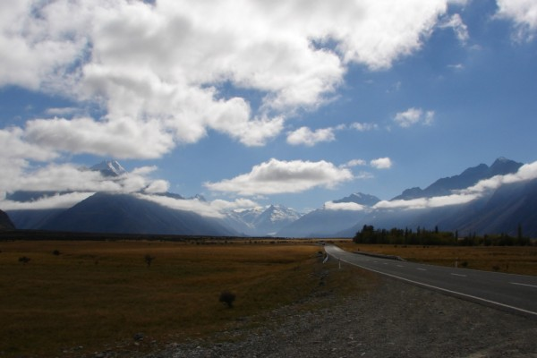 On the road to Mt Cook, Aoraki.