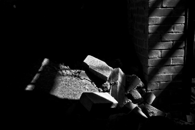 Some bricks in an abandoned building.