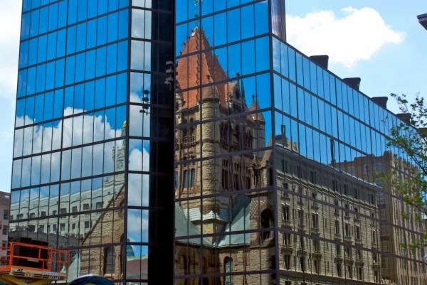 Reflection of Church on John Hancock Building