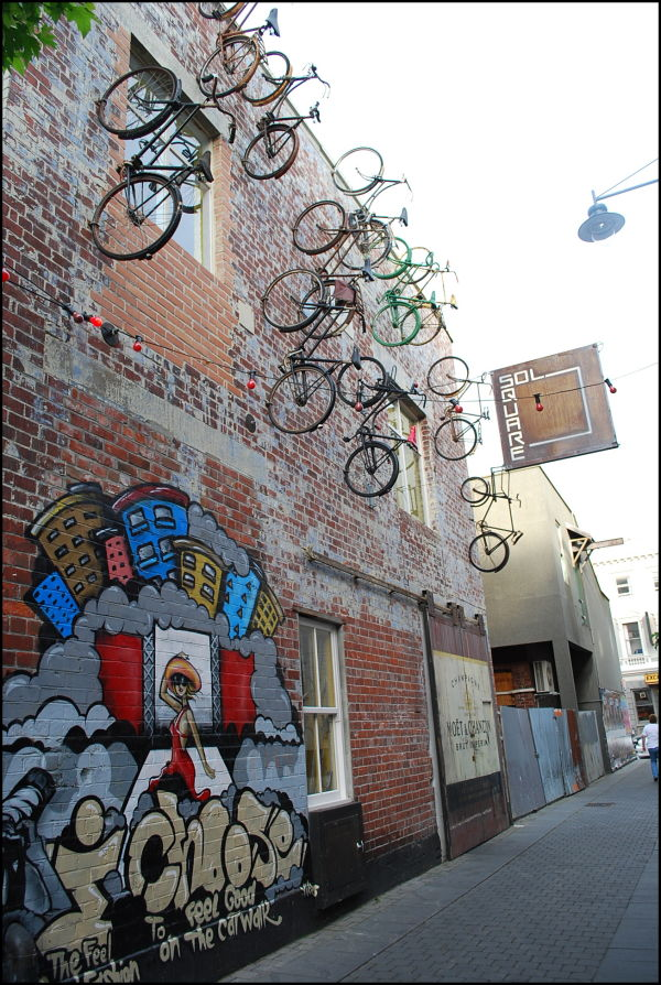 Bicycles on wall