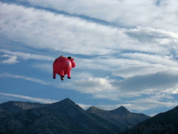 pig hot-air balloon flying over mountain