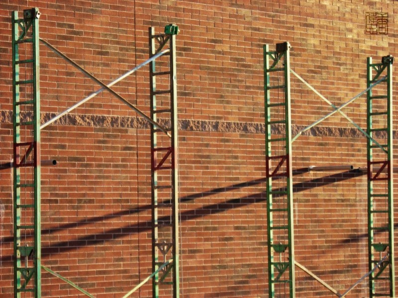 scaffold for building a brick wall