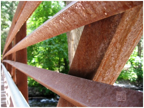 rusty old bridge rails