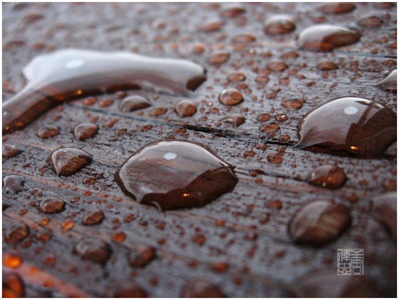 water drops in a rainstorm on some wood