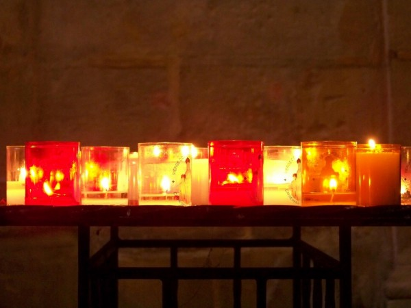 Little church candles in Sarlat, France