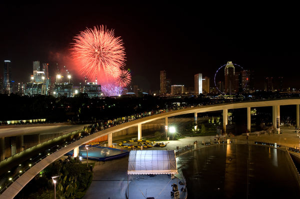 New Year's Day Fireworks from Marina Barrage