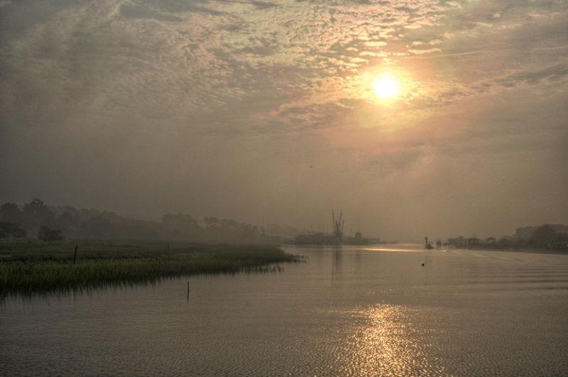 Coastal sunrise along the marsh (2 of 2).