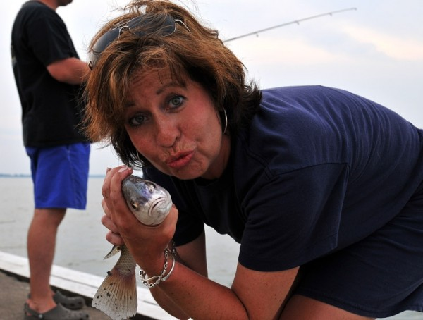 Mrs. Fishit with her prize.