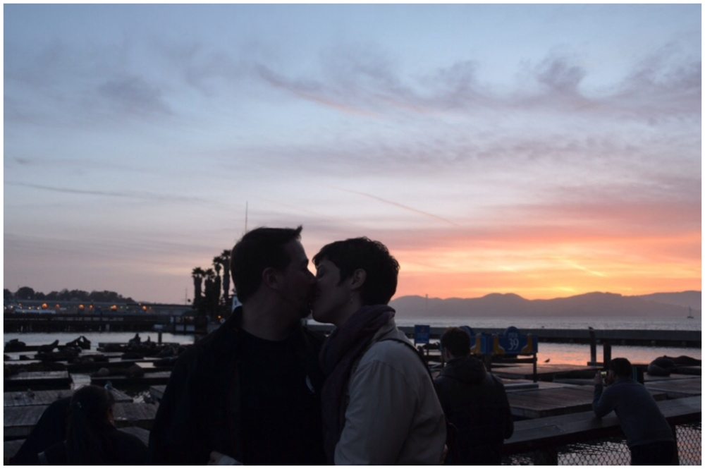 A kiss on Pier 39 at sunset