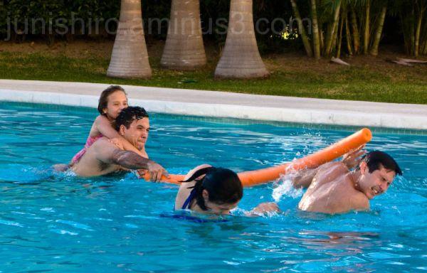 Pool Fighting water having fun