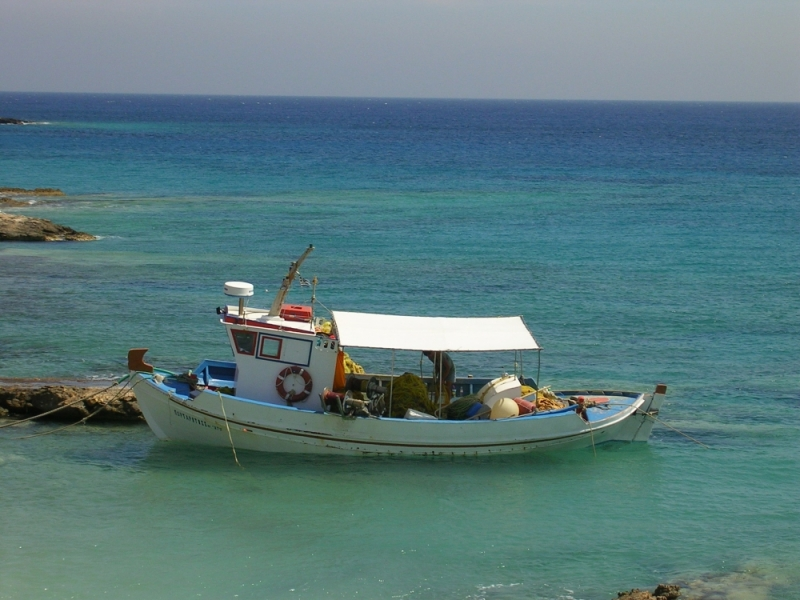 Fishing boat in Kato Koufonissi , Cyclades (Greece
