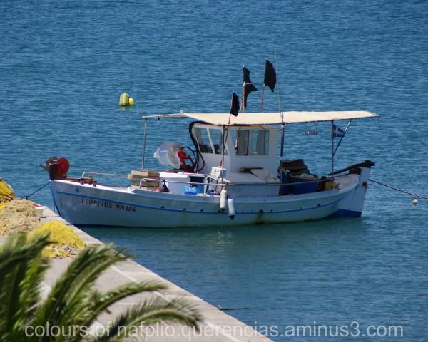 Ship in front of Bourtzi, Nafplio (Greece)