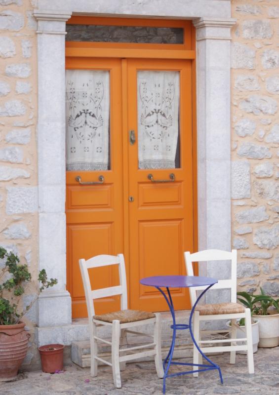 Yellow door in Areopolis, Greece.