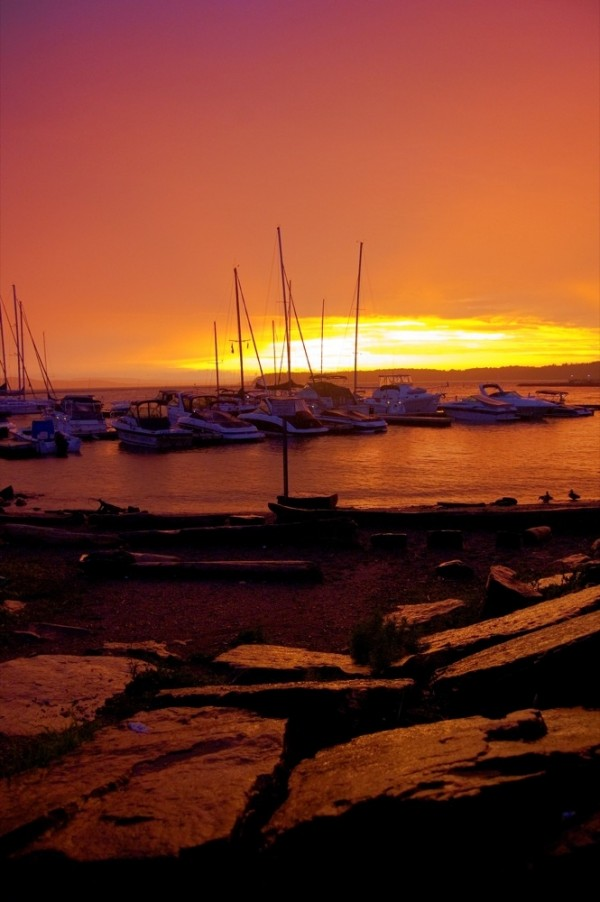 Lake Champlain at sunset during a thunderstorm