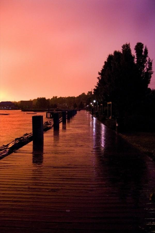 orange sky during a thunderstorm in burlington