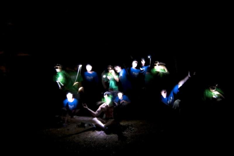 messing around with flashlights at night