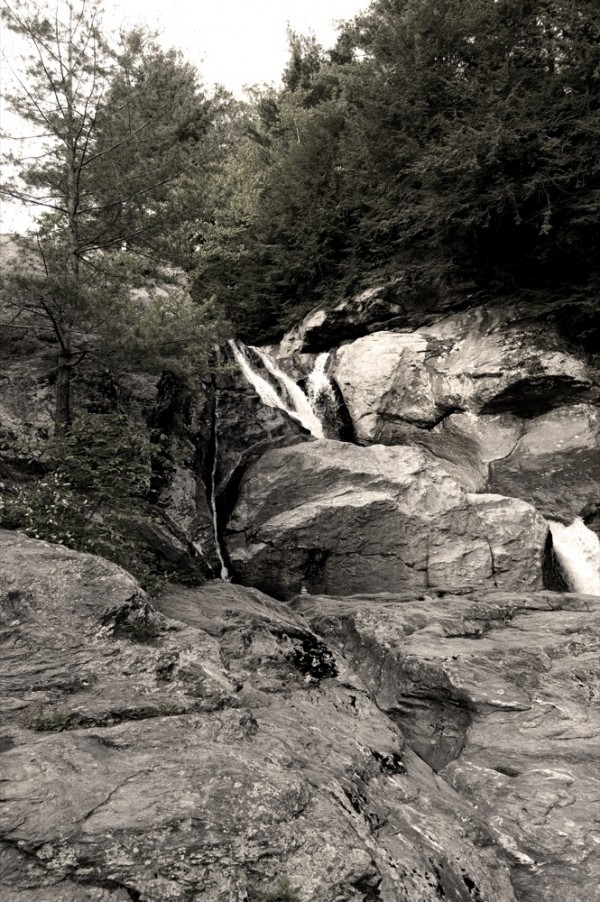 water coming over the rocks in bolton, vermont