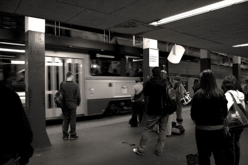 people awaiting the subway in Boston