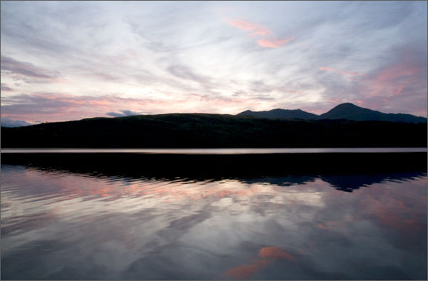 Sunset across Coniston Lake