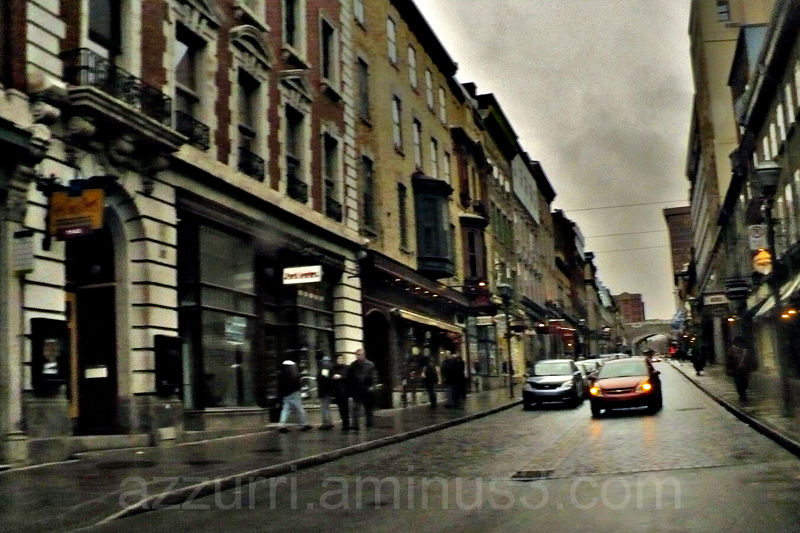 Rainy/snowy afternoon in Quebec City, Canada.