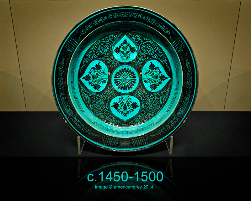 Turquoise and Black Dish . .