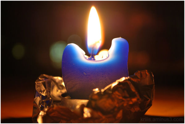 Candle, Blue, Fire, Burning