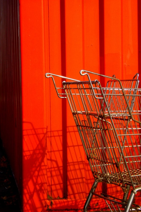 Shopping cart, red container