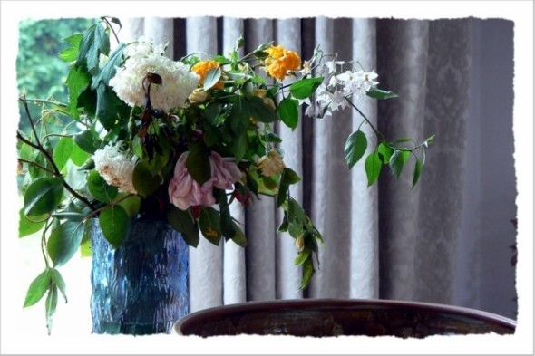 Yesterday's flowers in the flat at Hampstead