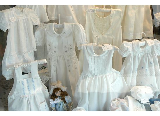 christening gowns in the window