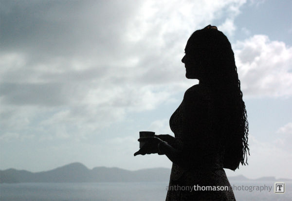 Silhouette of woman overlooking the ocean.