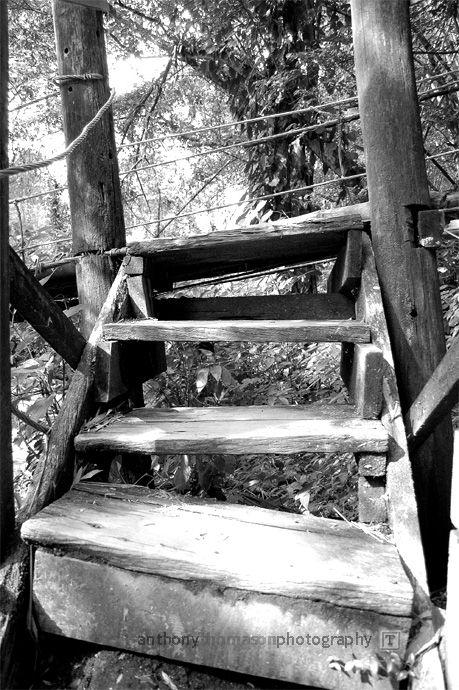 Crooked steps to suspension bridge in St. Vincent