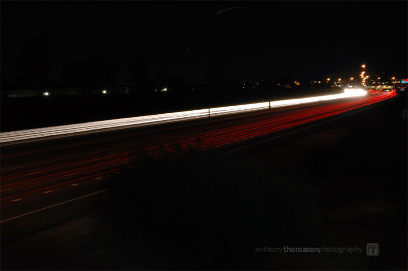 Slow shutter capture of night time traffic on I-10