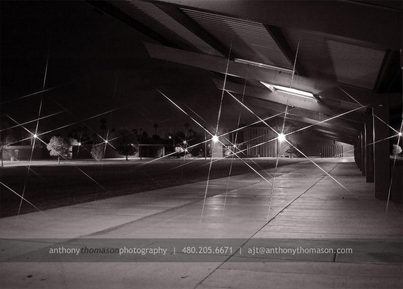 Sidewalk overhang at night