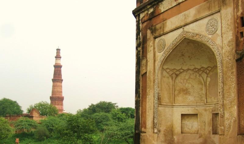 Qutub Minar & wall of Adham KhanTomb
