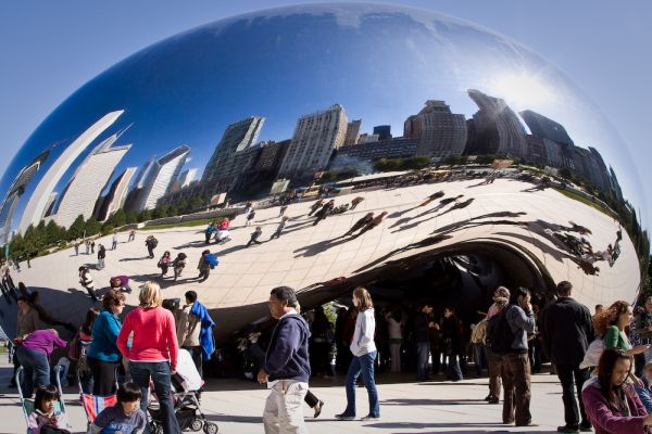 A busy day at the bean in Chicago
