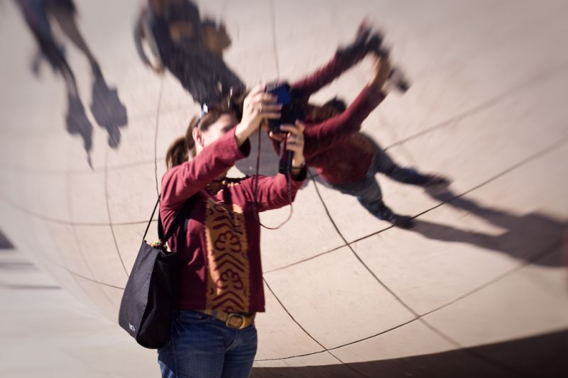 Taking a self portrait at the bean in Chicago