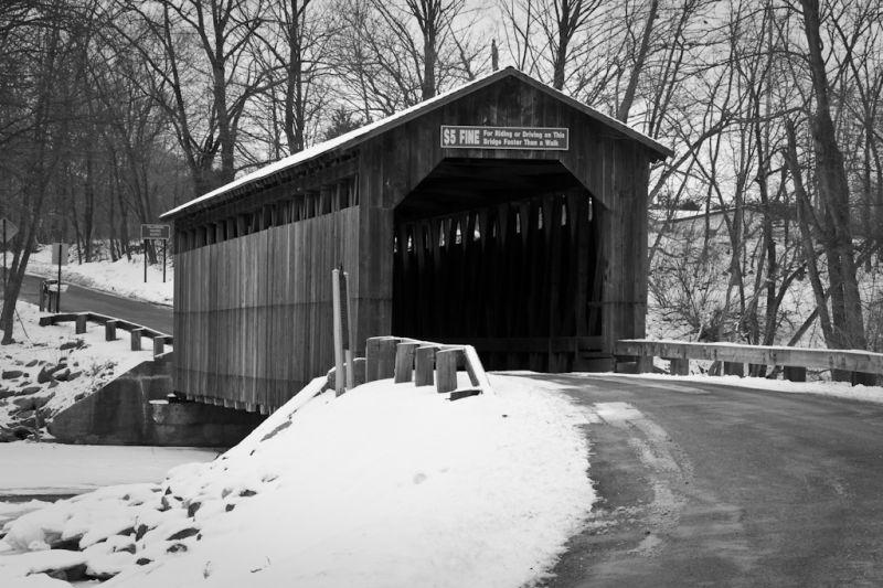 The covered bridge in Fallsburg, Michigan