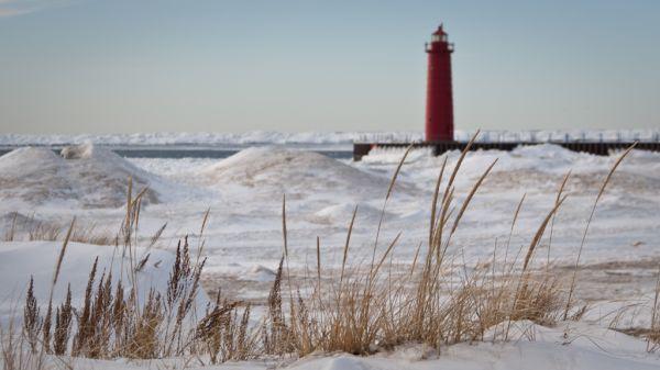 Muskegon Michigan Lighthouse Lake