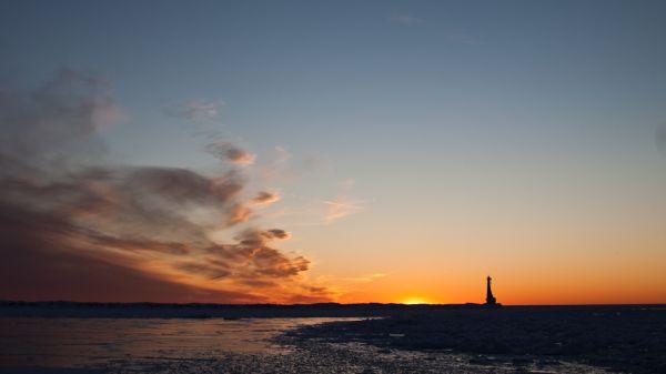 A sunset over Lake Michigan at Muskegon