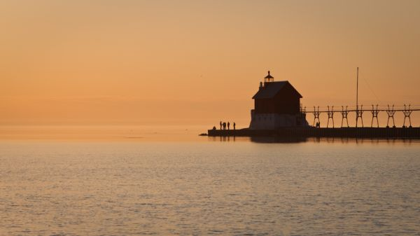 A pastel sunset at Grand Haven Michigan Lighthouse