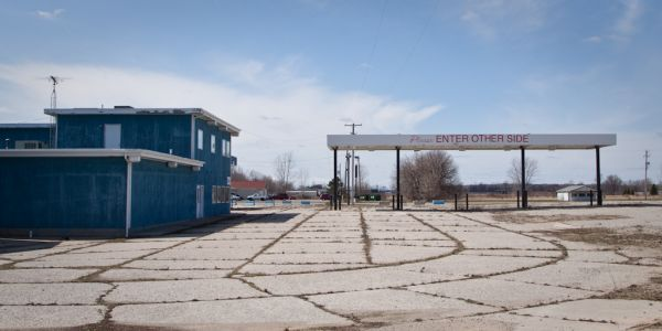 A closed gas station in Ionia Michigan