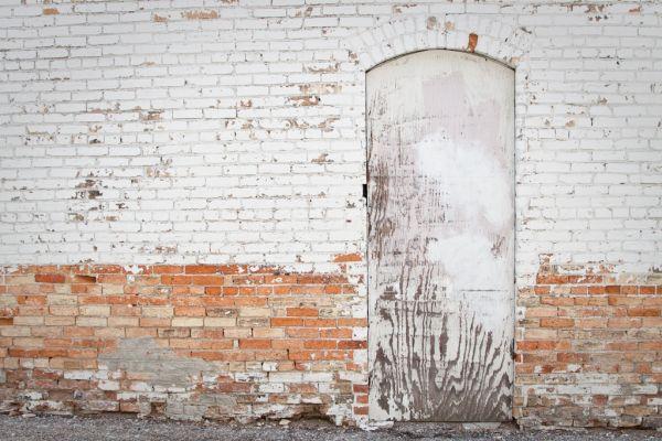 A bricked up door in Ionia Michigan
