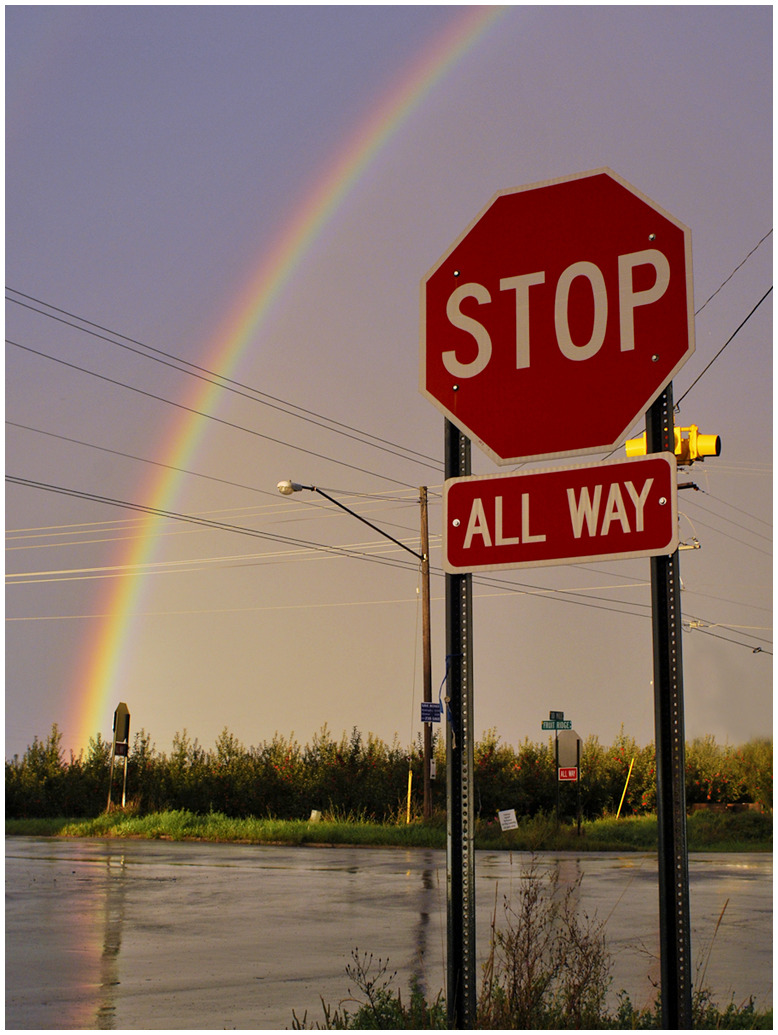 Rainbow  and Stop Sign