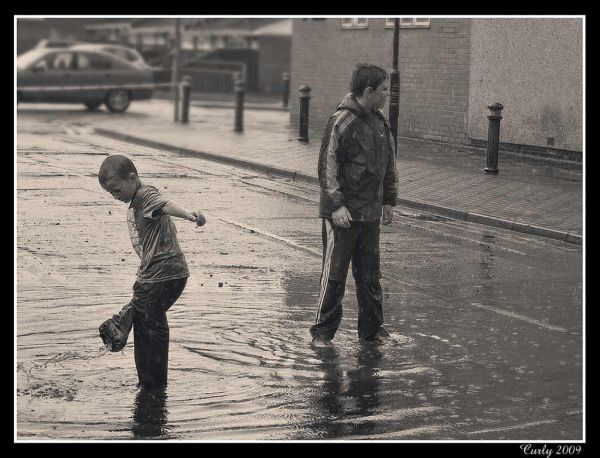 Children playing in flood water in South Shields,